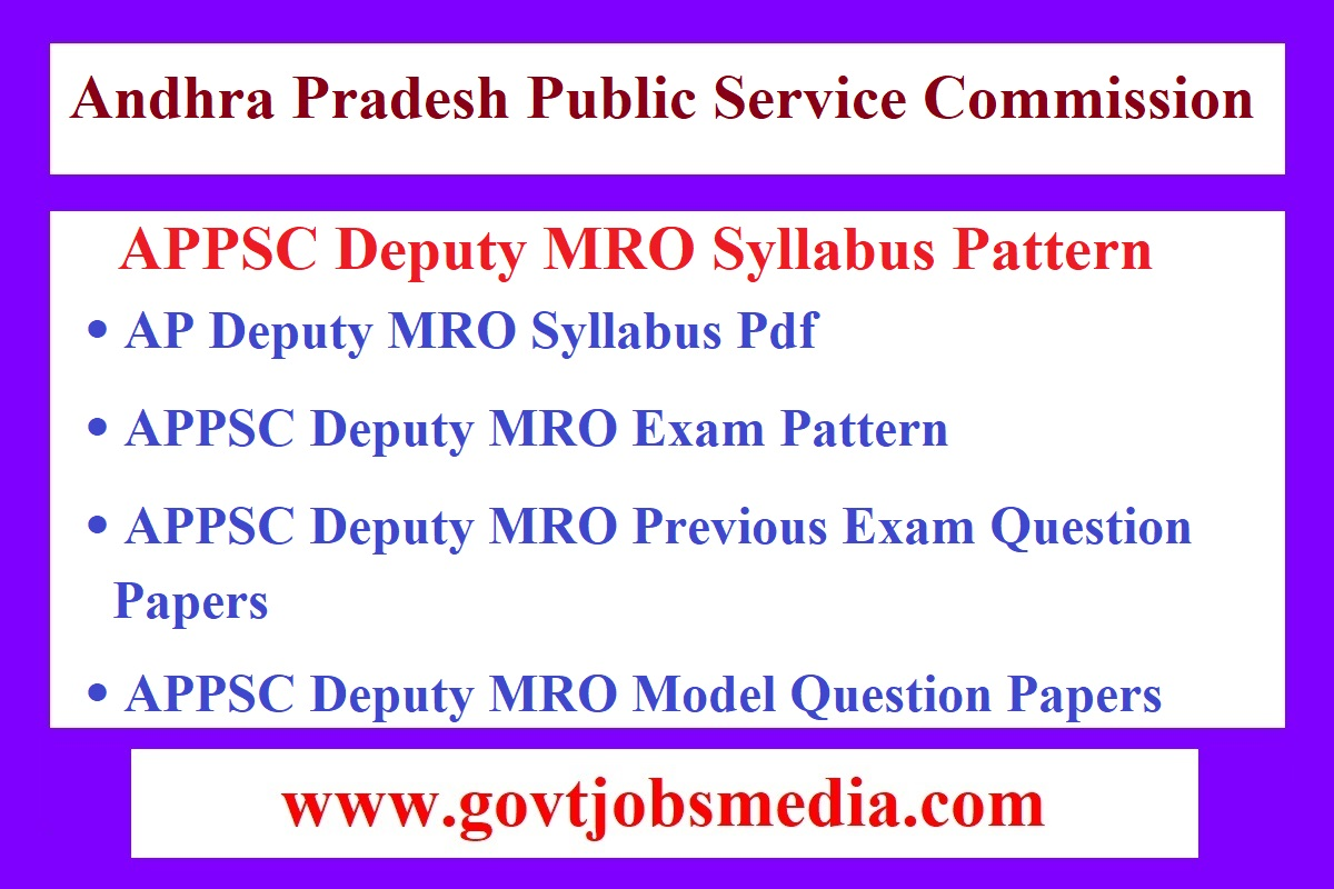 APPSC Deputy MRO Syllabus