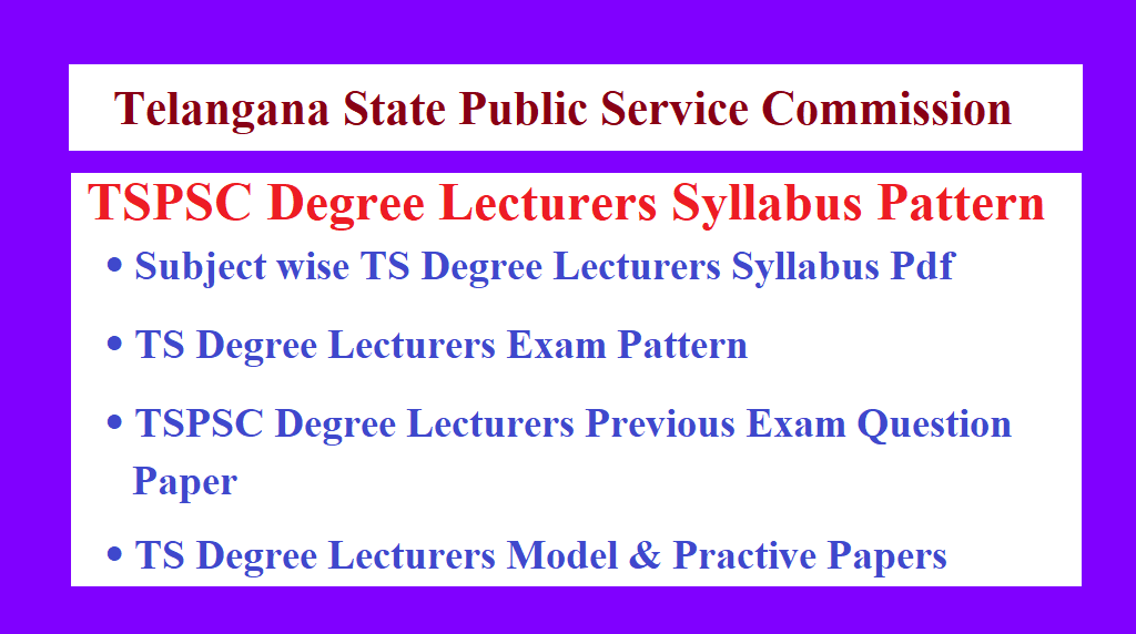 TS Degree Lecturers Syllabus