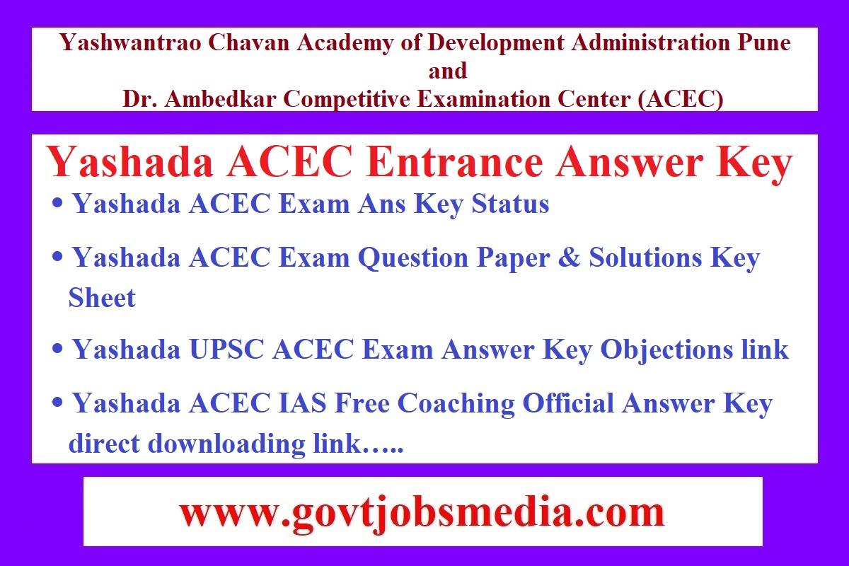 Yashada ACEC Entrance Answer Key