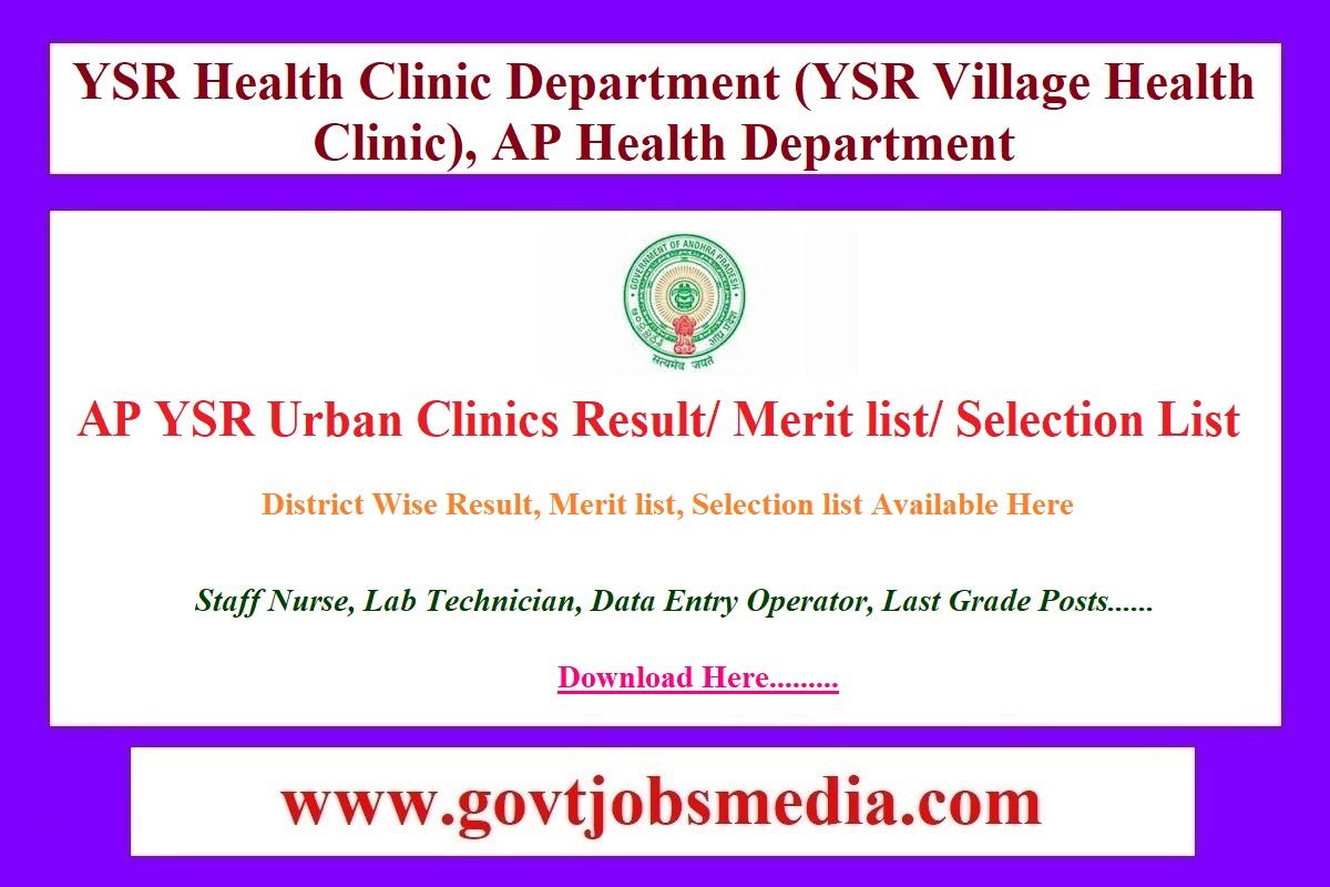 AP YSR Urban Clinics Result Merit list